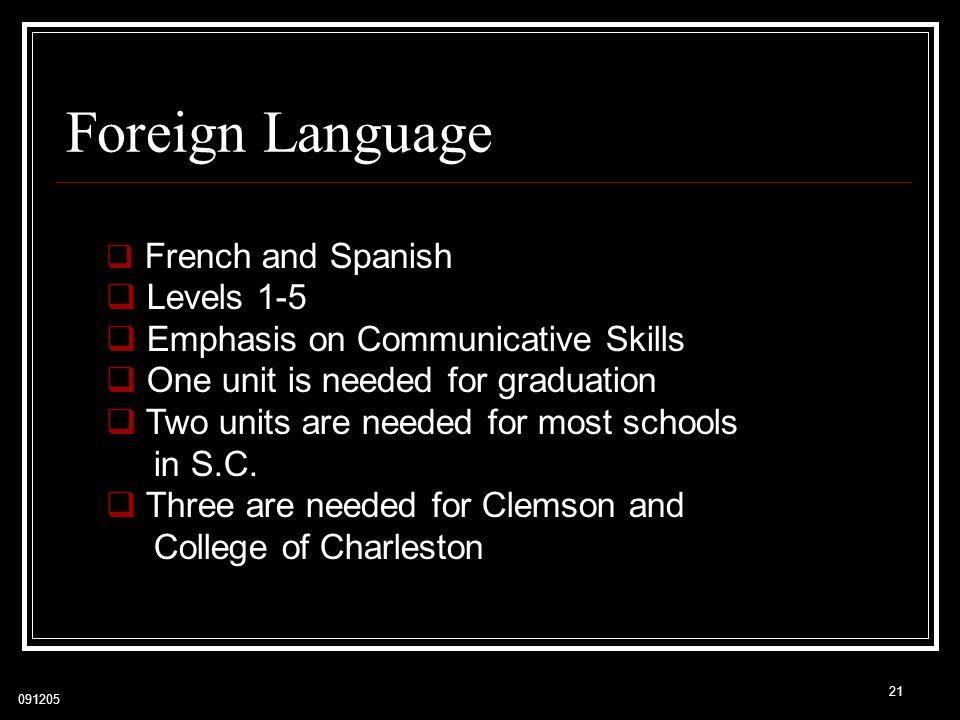 Foreign Language Levels 1-5 Emphasis on Communicative Skills