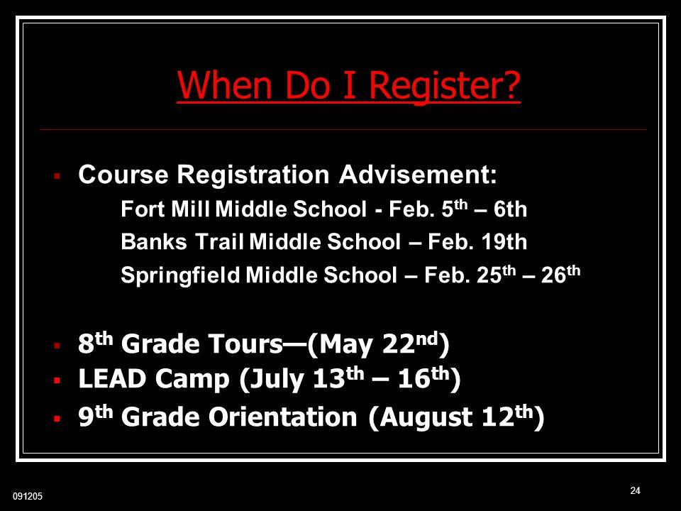 When Do I Register Course Registration Advisement: