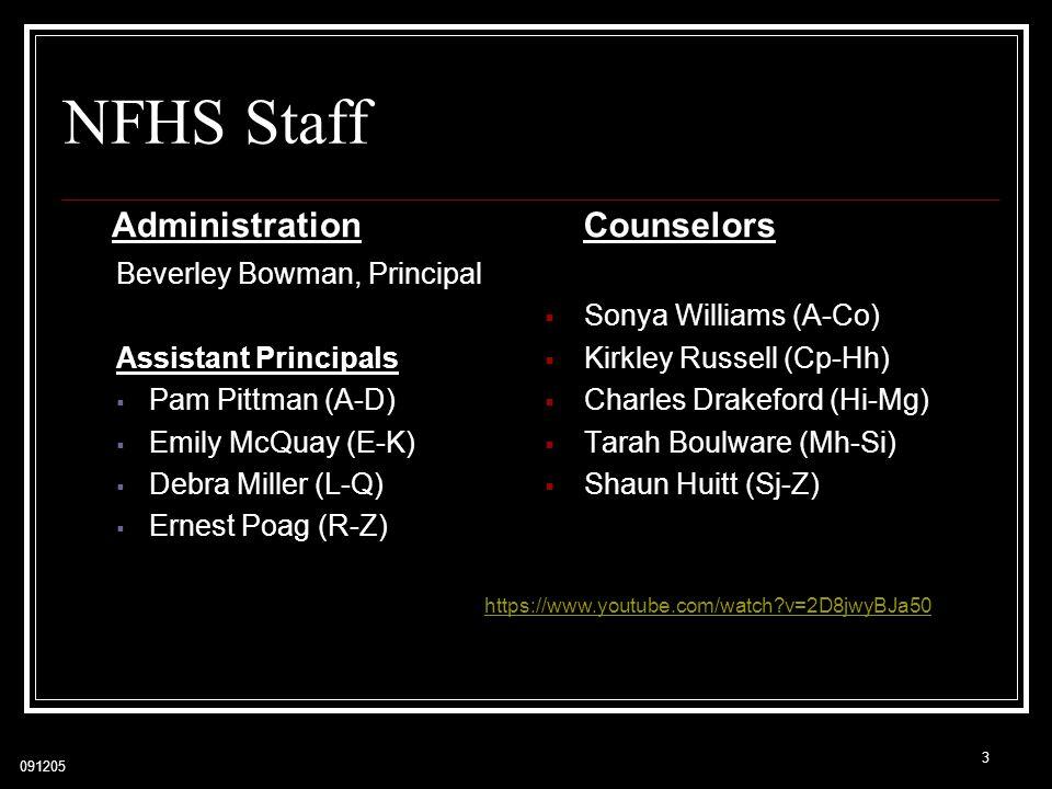NFHS Staff Administration Counselors Beverley Bowman, Principal
