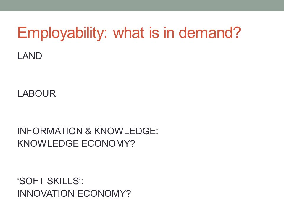 Employability: what is in demand