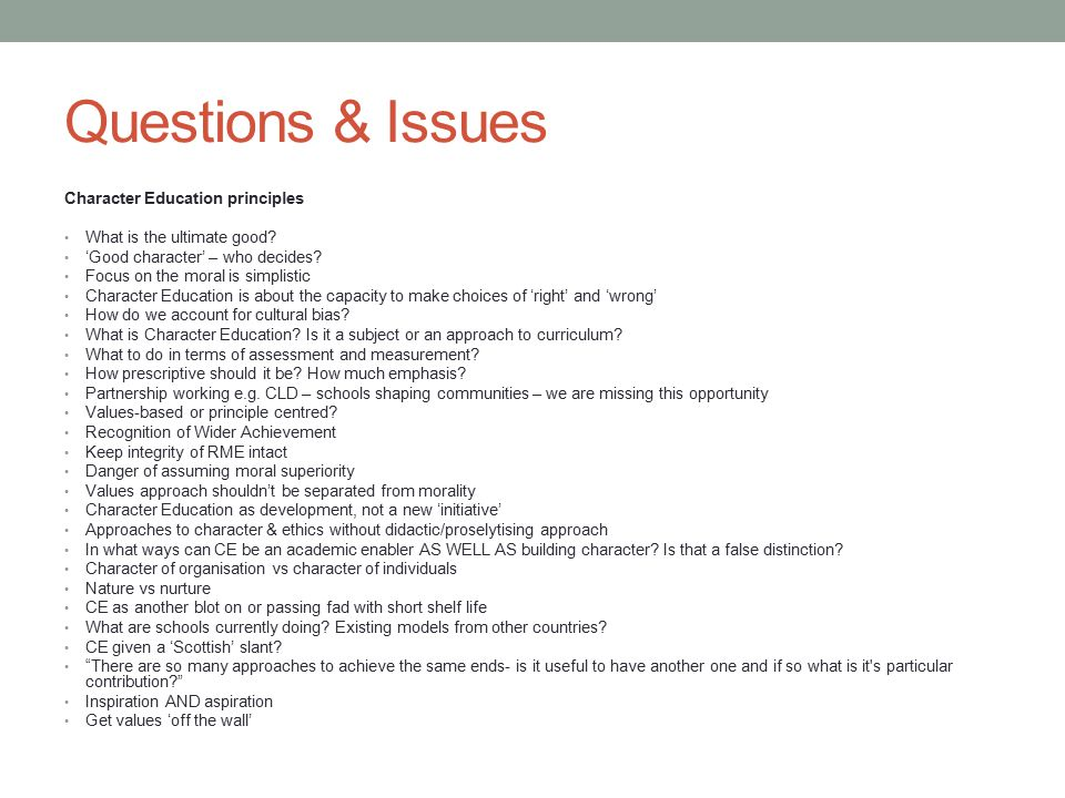 Questions & Issues Character Education principles