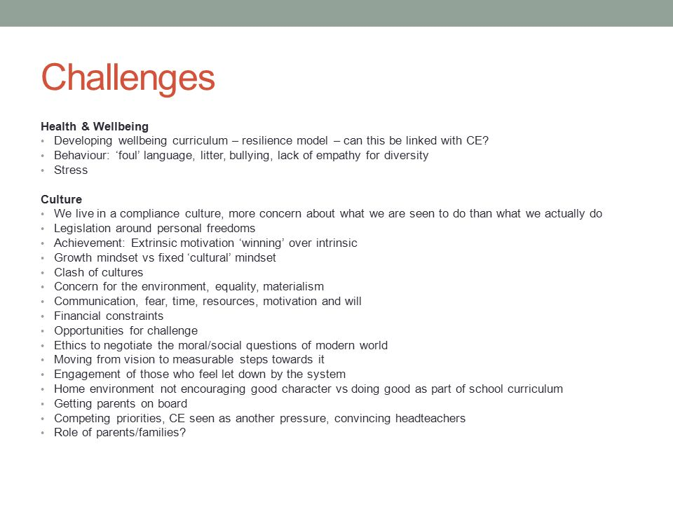 Challenges Health & Wellbeing