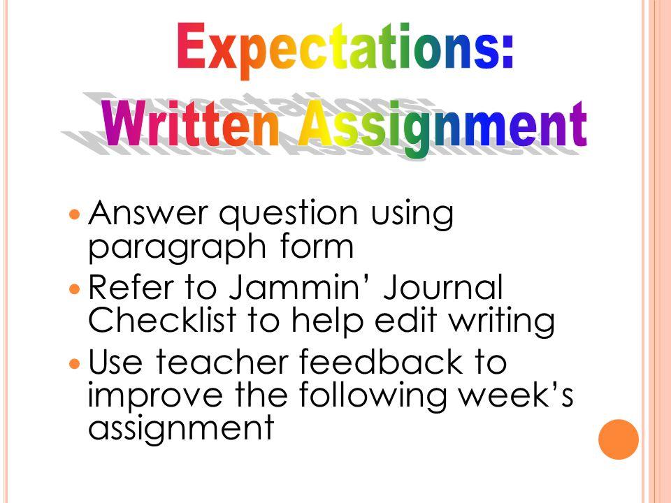 Expectations: Written Assignment