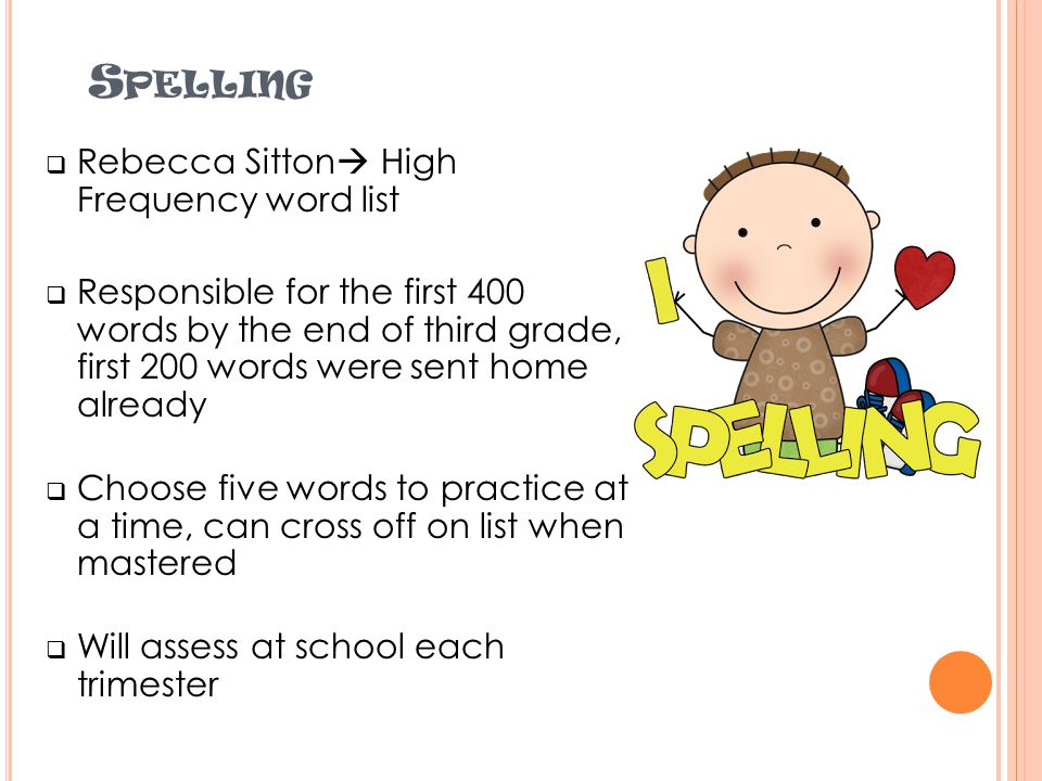 Spelling Rebecca Sitton High Frequency word list