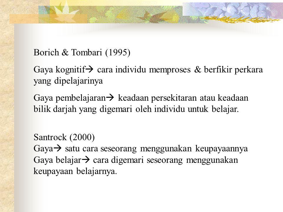 Borich & Tombari (1995) Gaya kognitif cara individu memproses & berfikir perkara yang dipelajarinya.