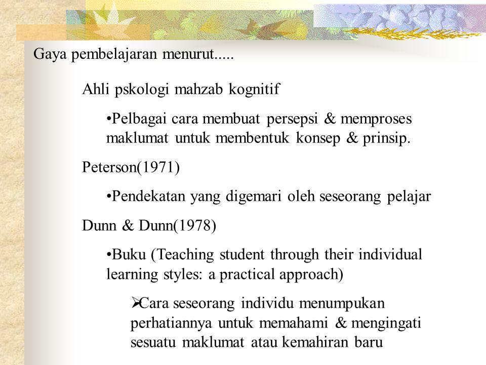 Gaya pembelajaran menurut.....