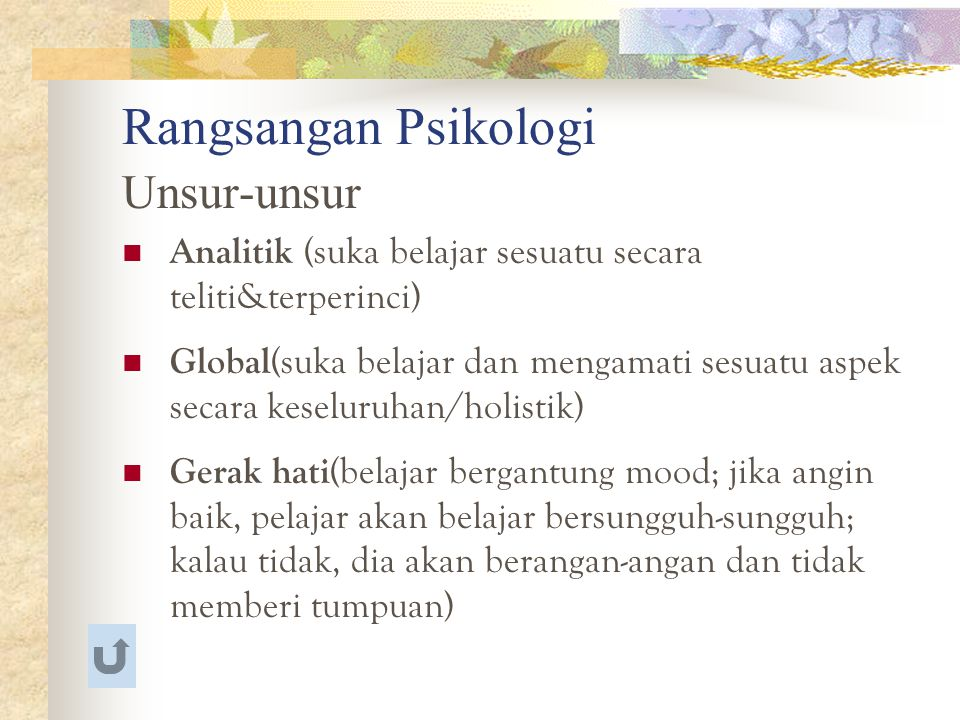 Rangsangan Psikologi Unsur-unsur