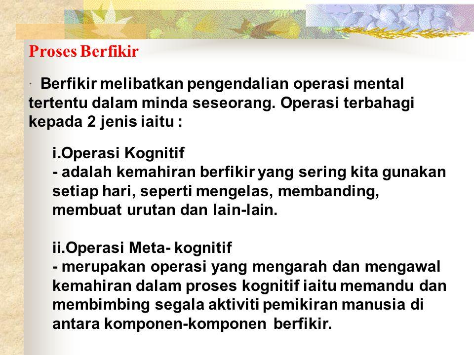 Proses Berfikir · Berfikir melibatkan pengendalian operasi mental tertentu dalam minda seseorang. Operasi terbahagi kepada 2 jenis iaitu :