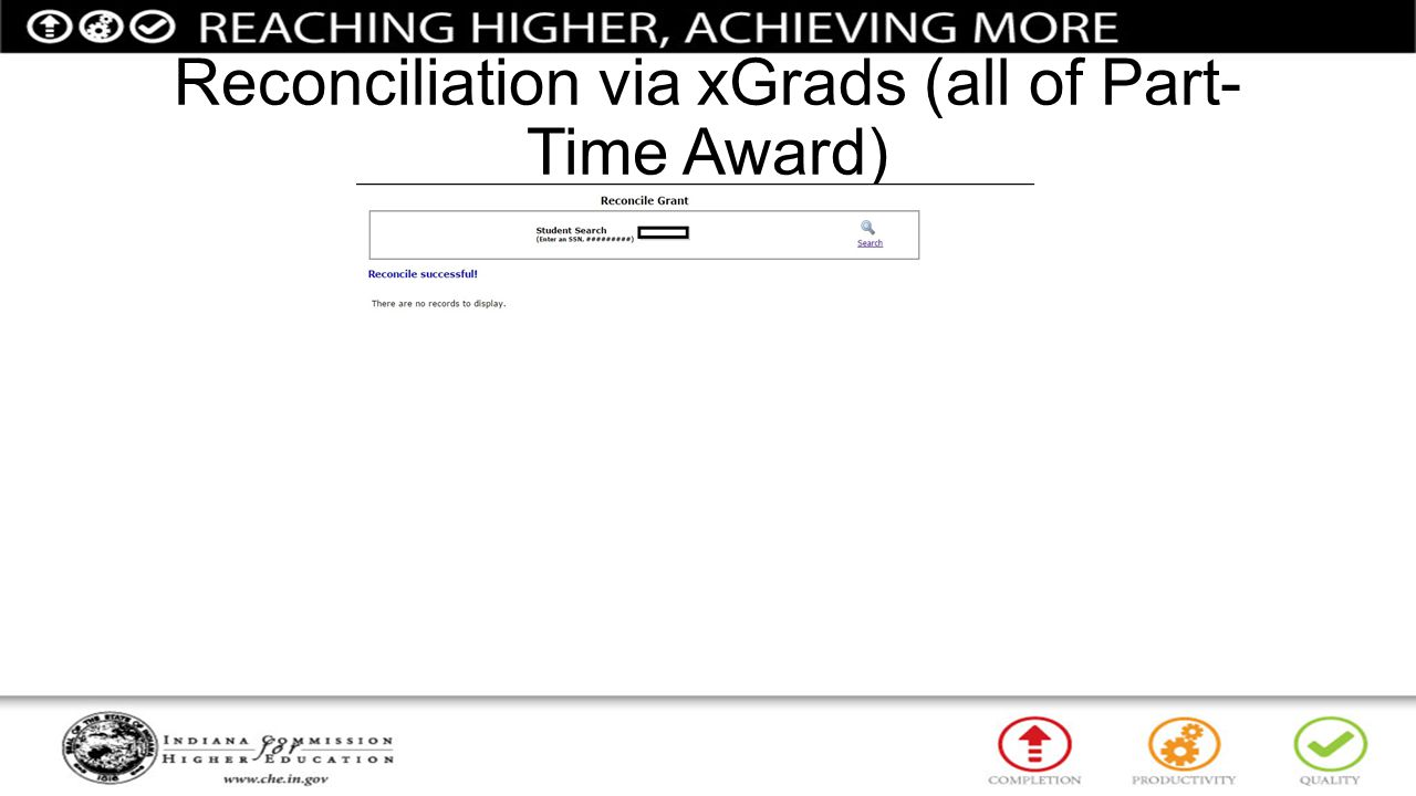 Reconciliation via xGrads (all of Part-Time Award)