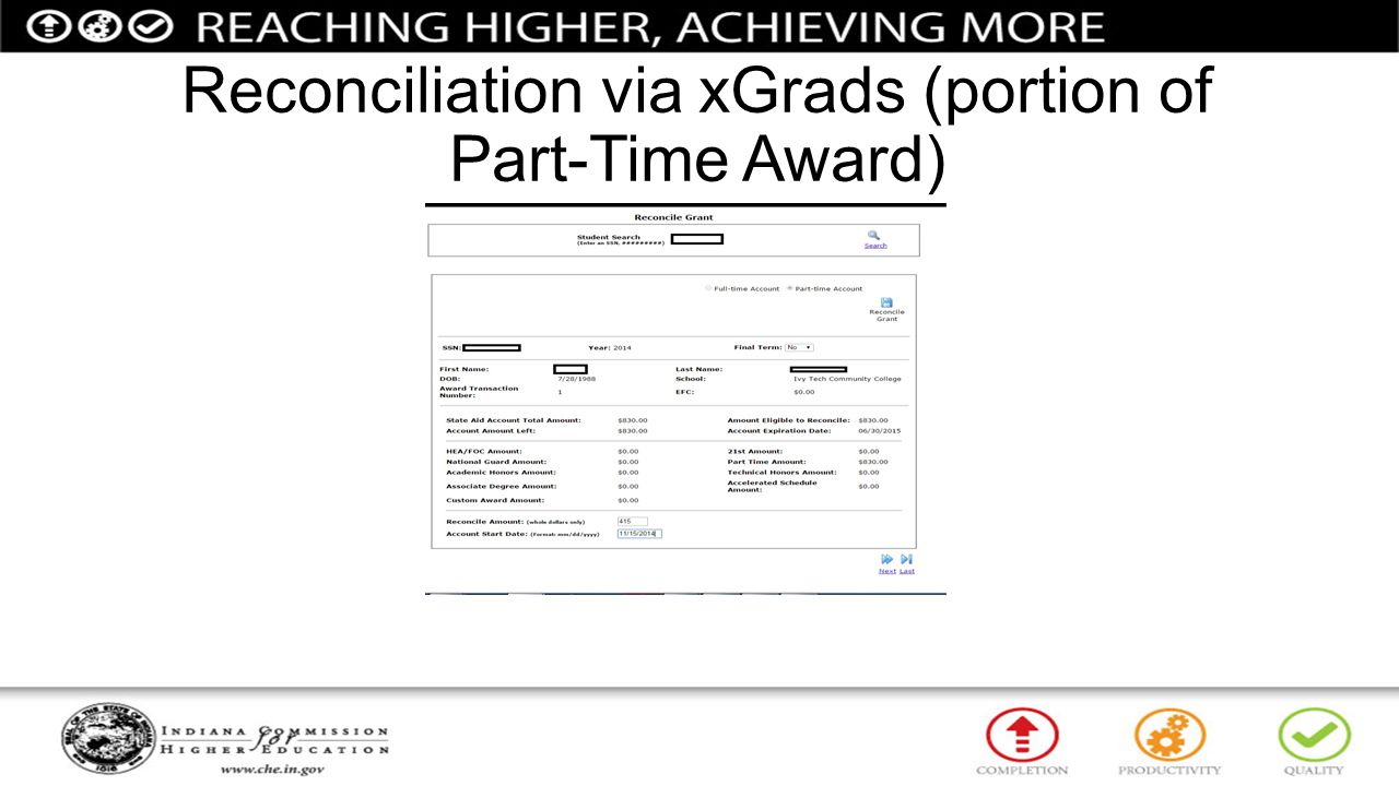 Reconciliation via xGrads (portion of Part-Time Award)