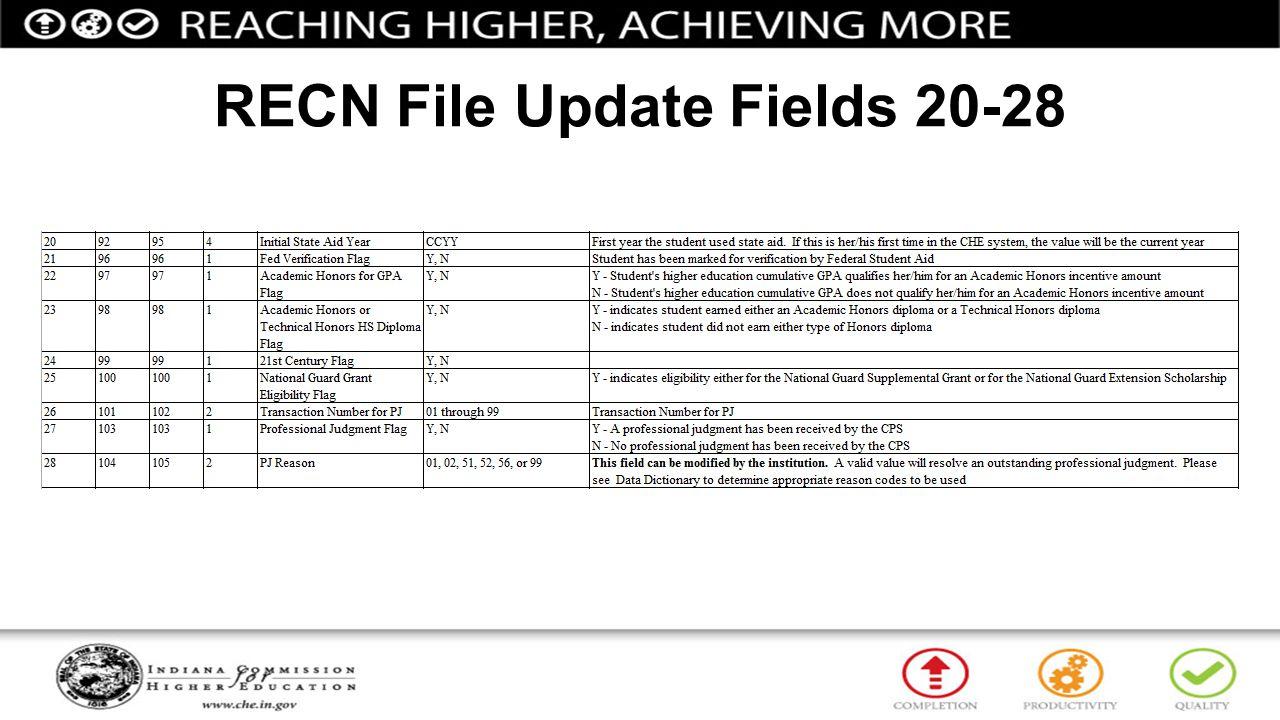 RECN File Update Fields 20-28
