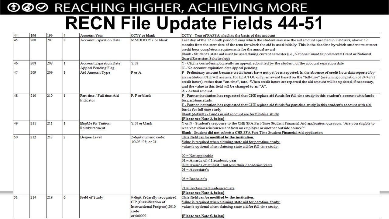 RECN File Update Fields 44-51