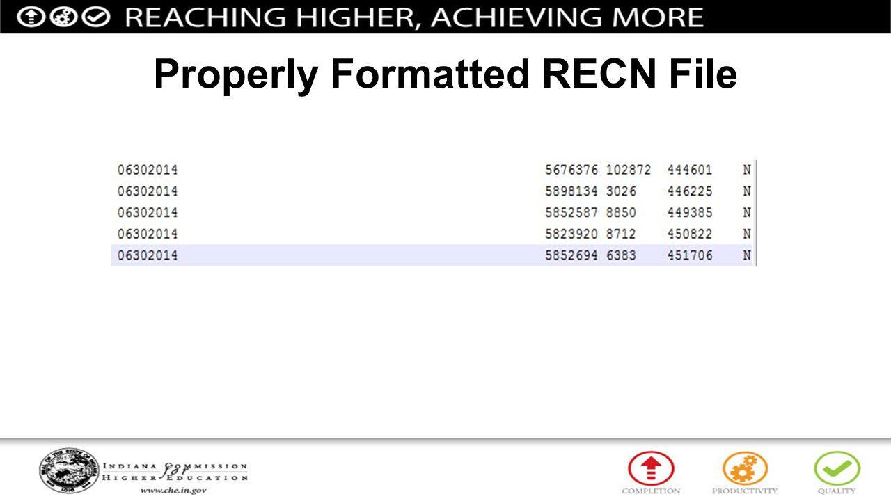 Properly Formatted RECN File