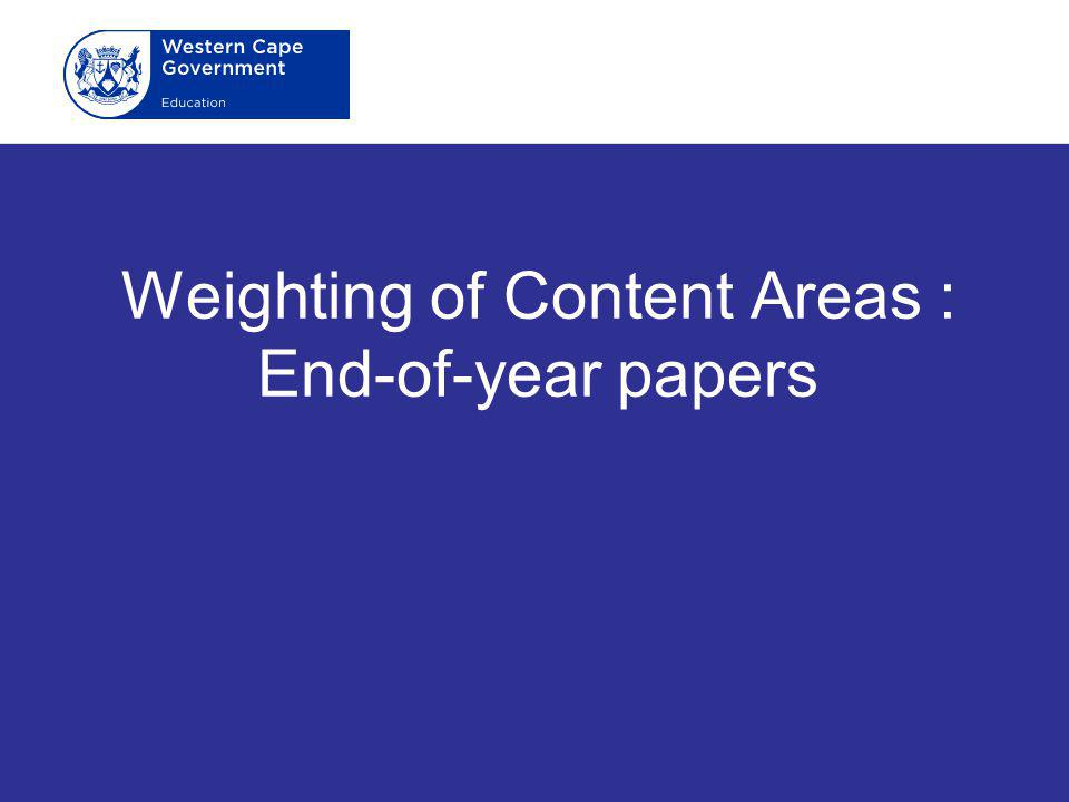 Weighting of Content Areas : End-of-year papers