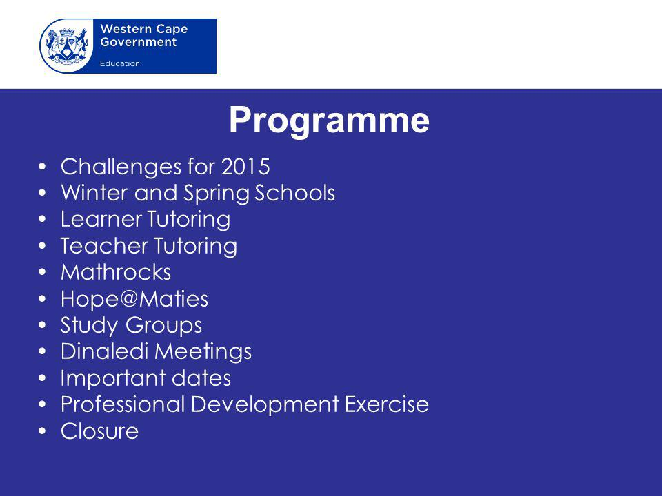 Programme Challenges for 2015 Winter and Spring Schools