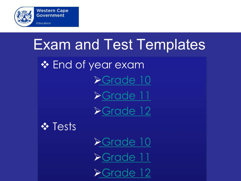 Exam and Test Templates