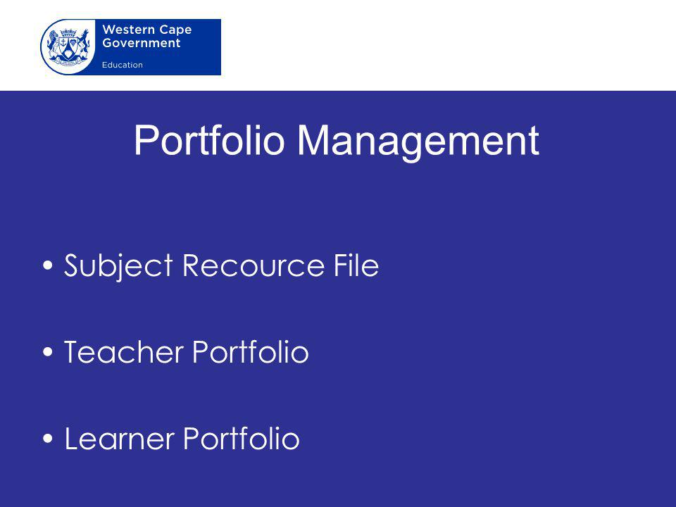 Portfolio Management Subject Recource File Teacher Portfolio