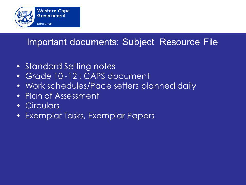 Important documents: Subject Resource File