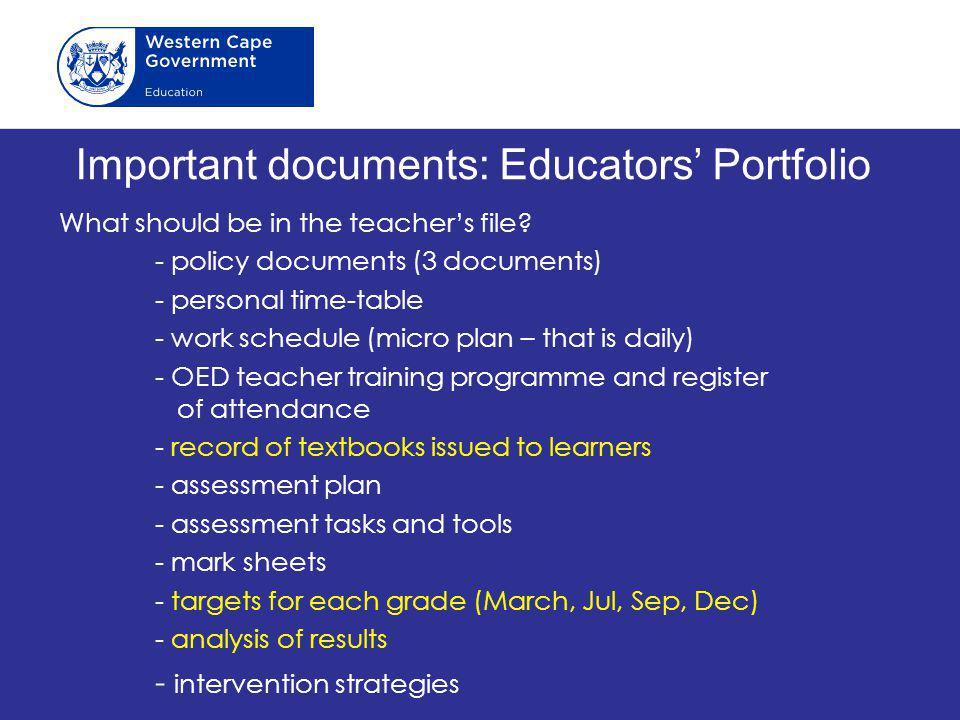 Important documents: Educators' Portfolio