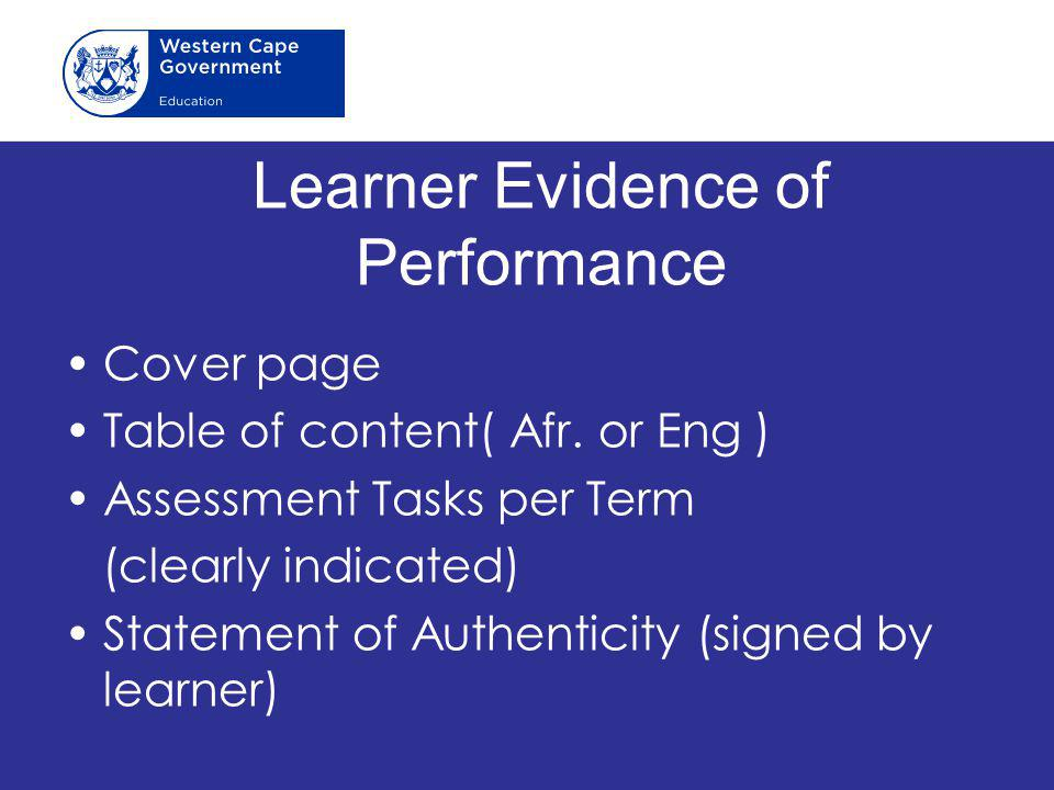 Learner Evidence of Performance