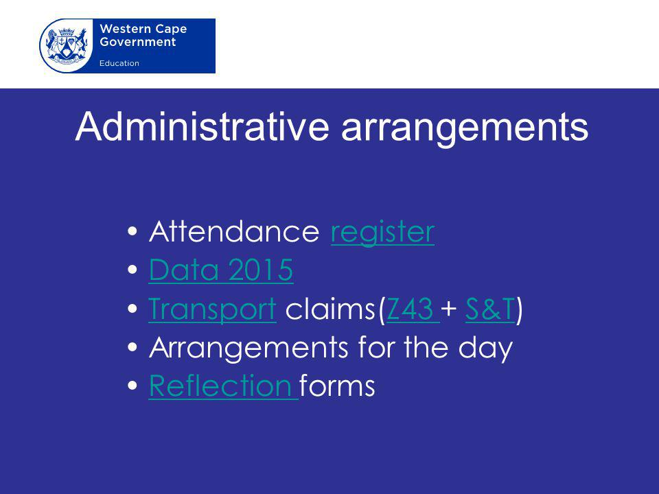 Administrative arrangements
