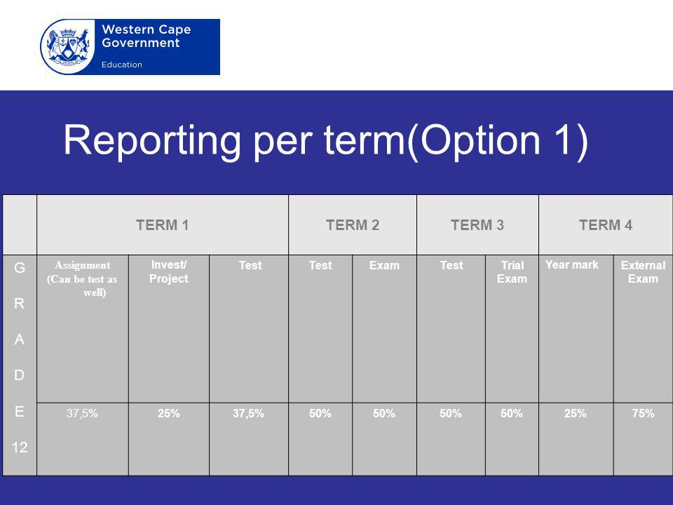 Reporting per term(Option 1)