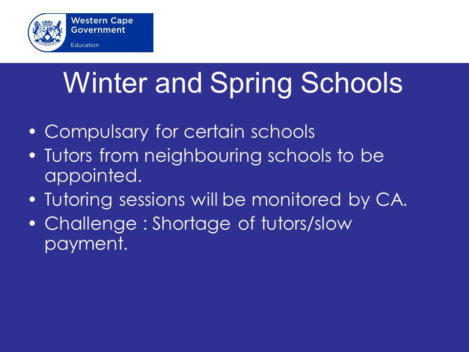 Winter and Spring Schools