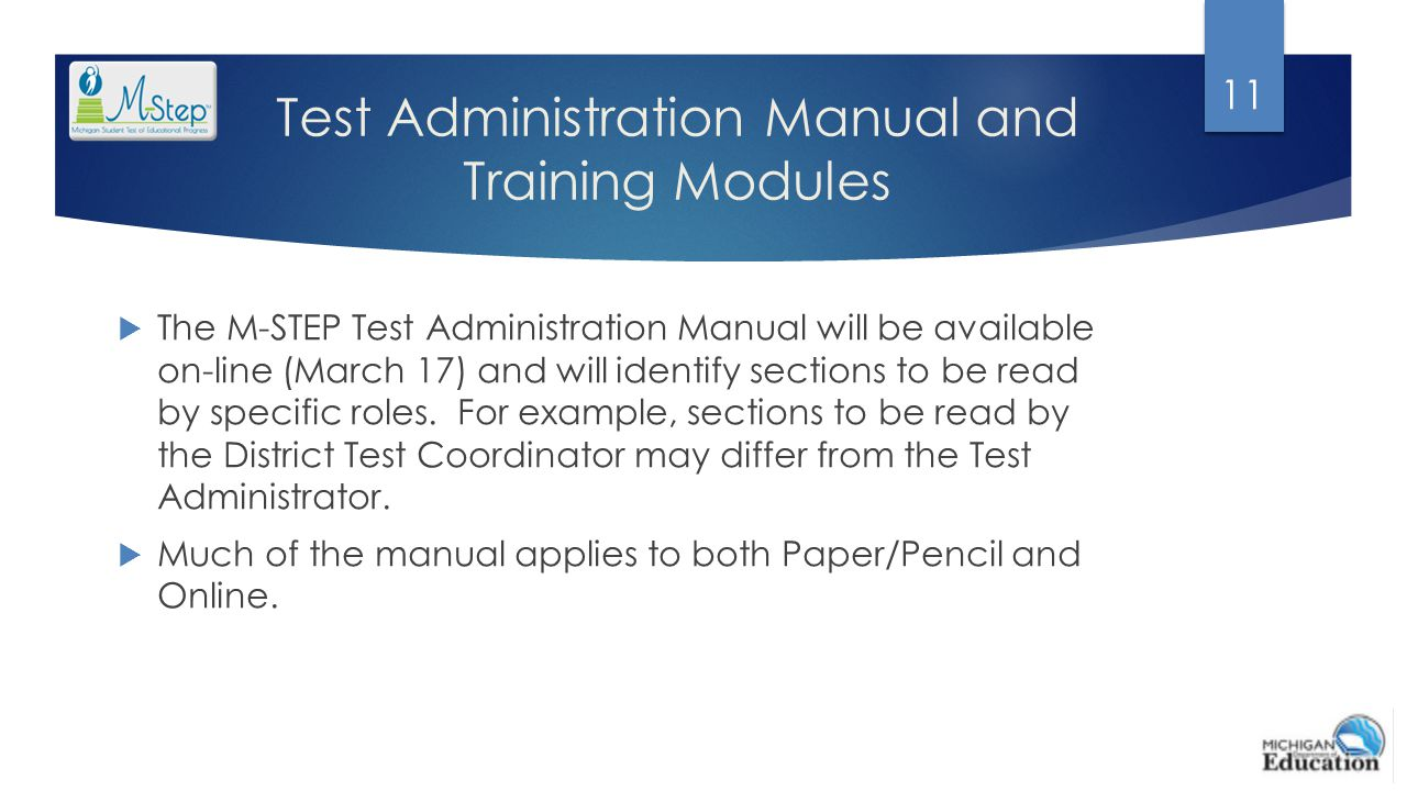 Test Administration Manual and Training Modules