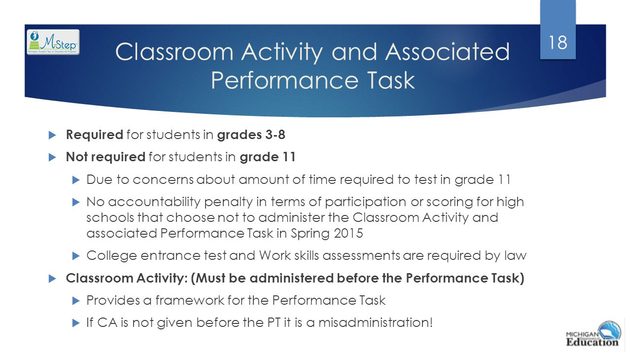 Classroom Activity and Associated Performance Task