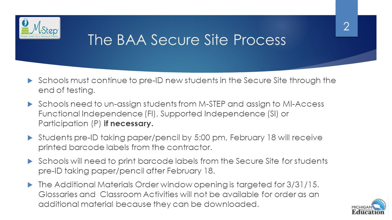 The BAA Secure Site Process