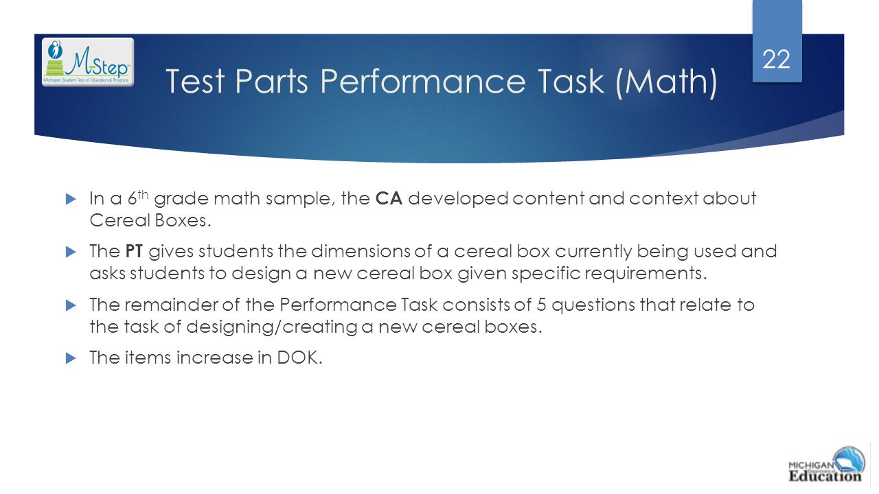 Test Parts Performance Task (Math)