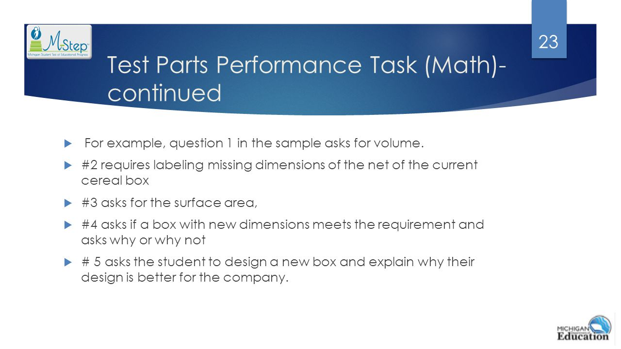 Test Parts Performance Task (Math)-continued