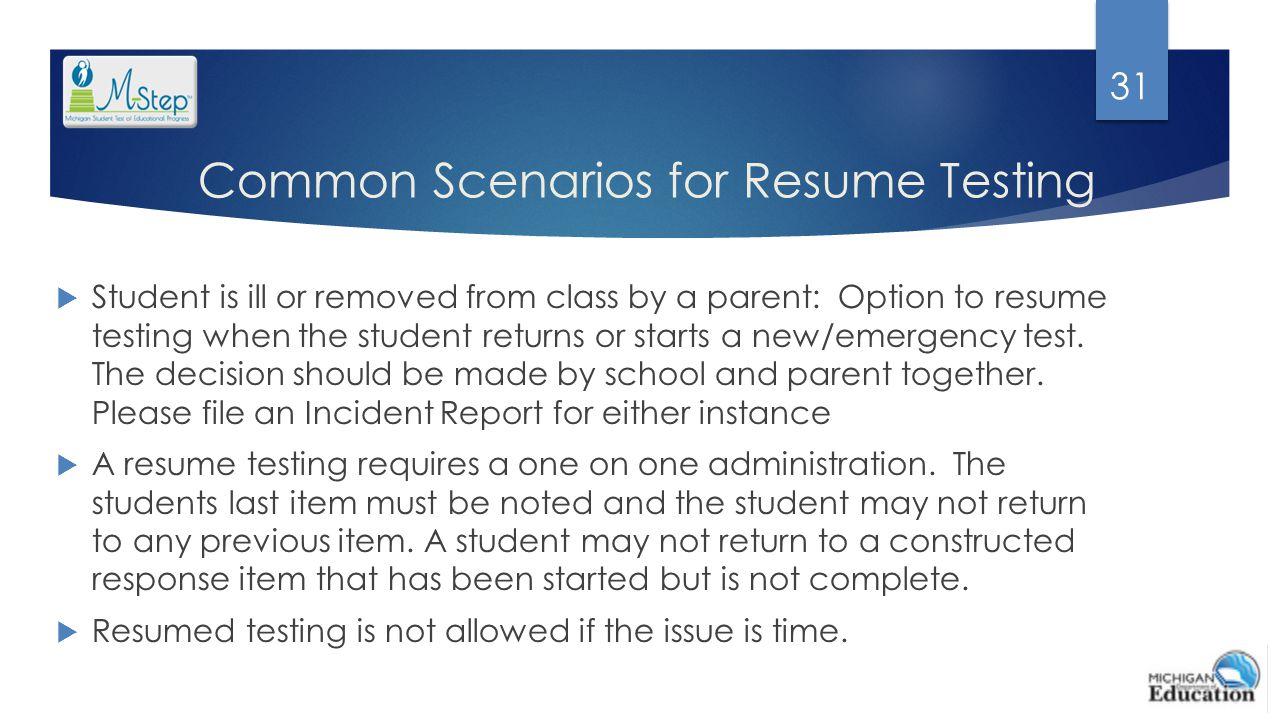 Common Scenarios for Resume Testing