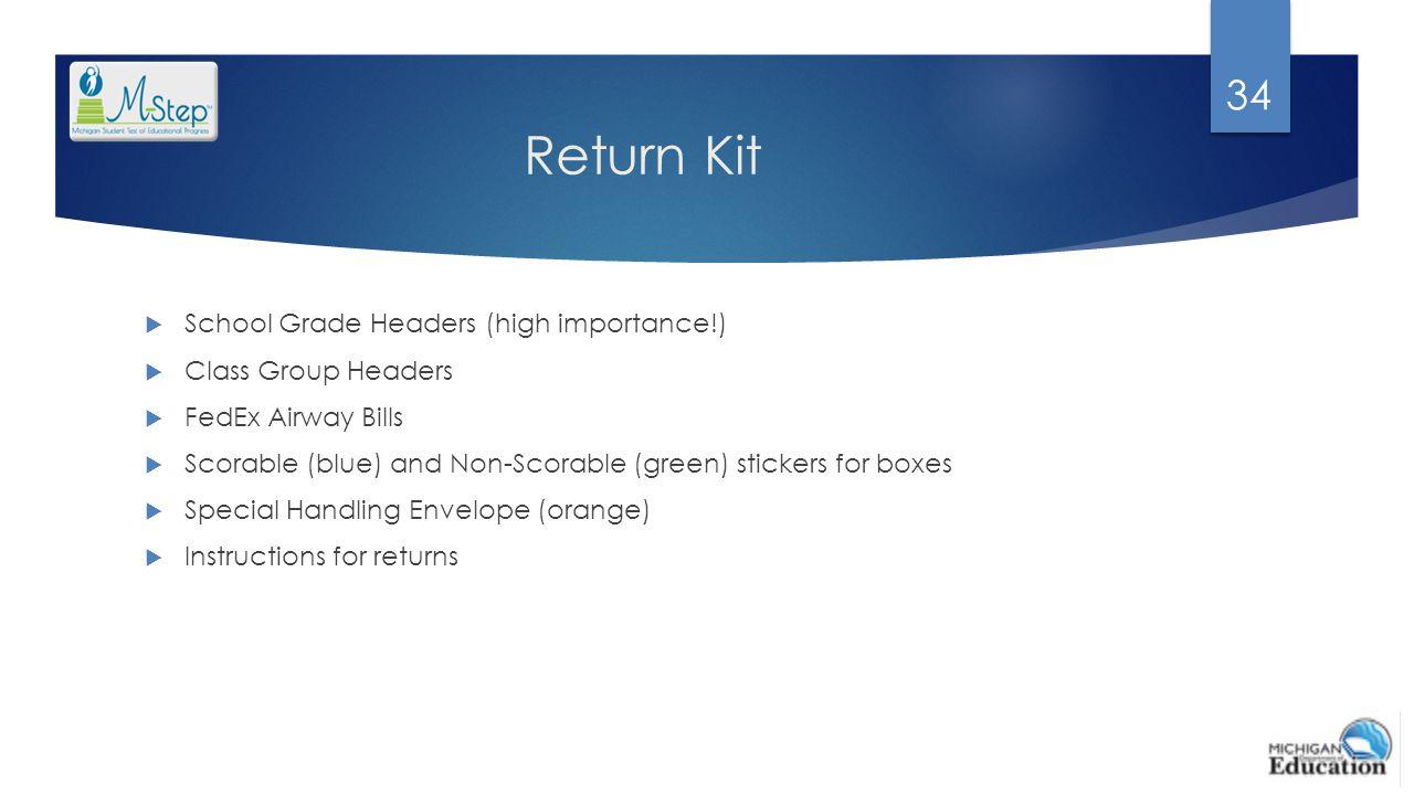 Return Kit School Grade Headers (high importance!) Class Group Headers