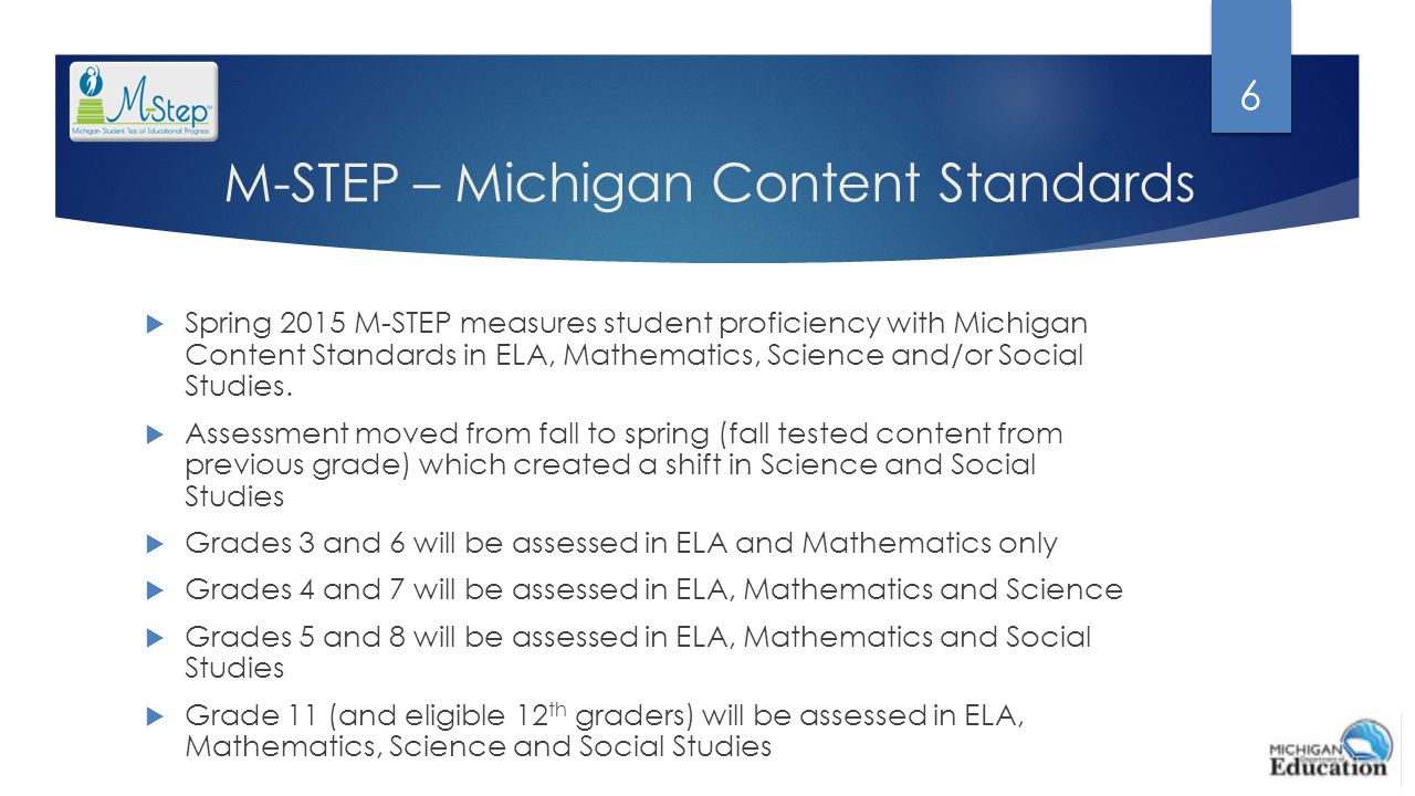M-STEP – Michigan Content Standards