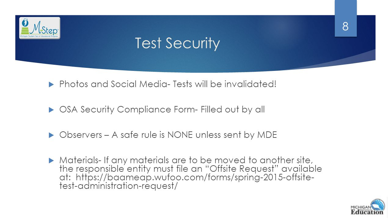 Test Security Photos and Social Media- Tests will be invalidated!