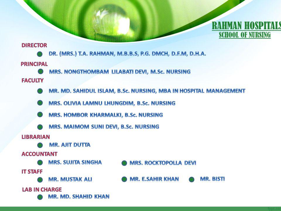 RAHMAN HOSPITALS SCHOOL OF NURSING DIRECTOR