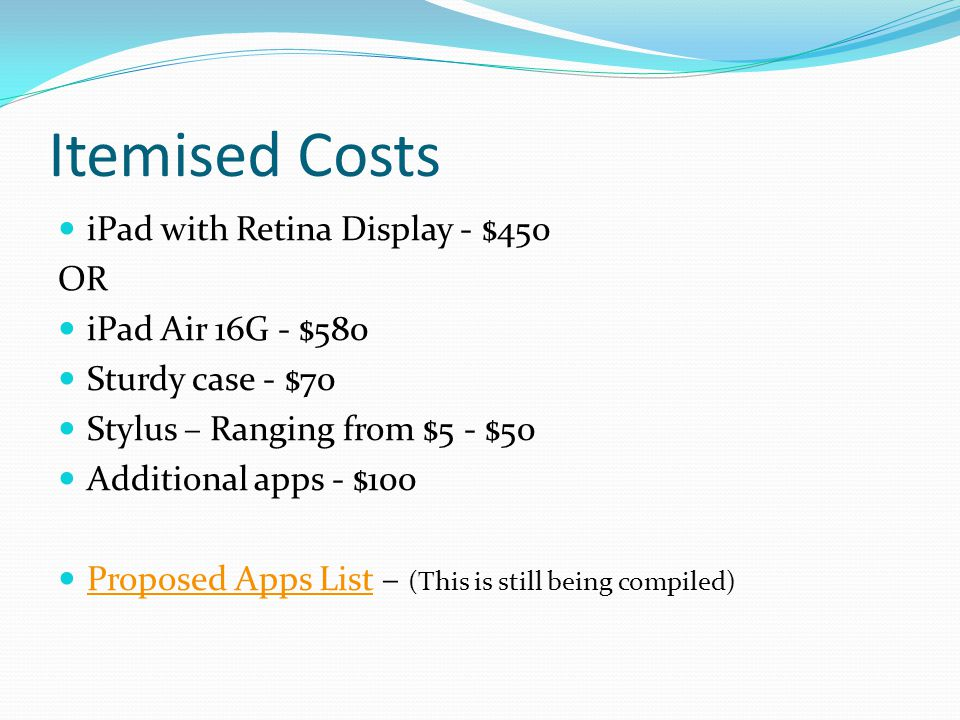 Itemised Costs iPad with Retina Display - $450 OR iPad Air 16G - $580