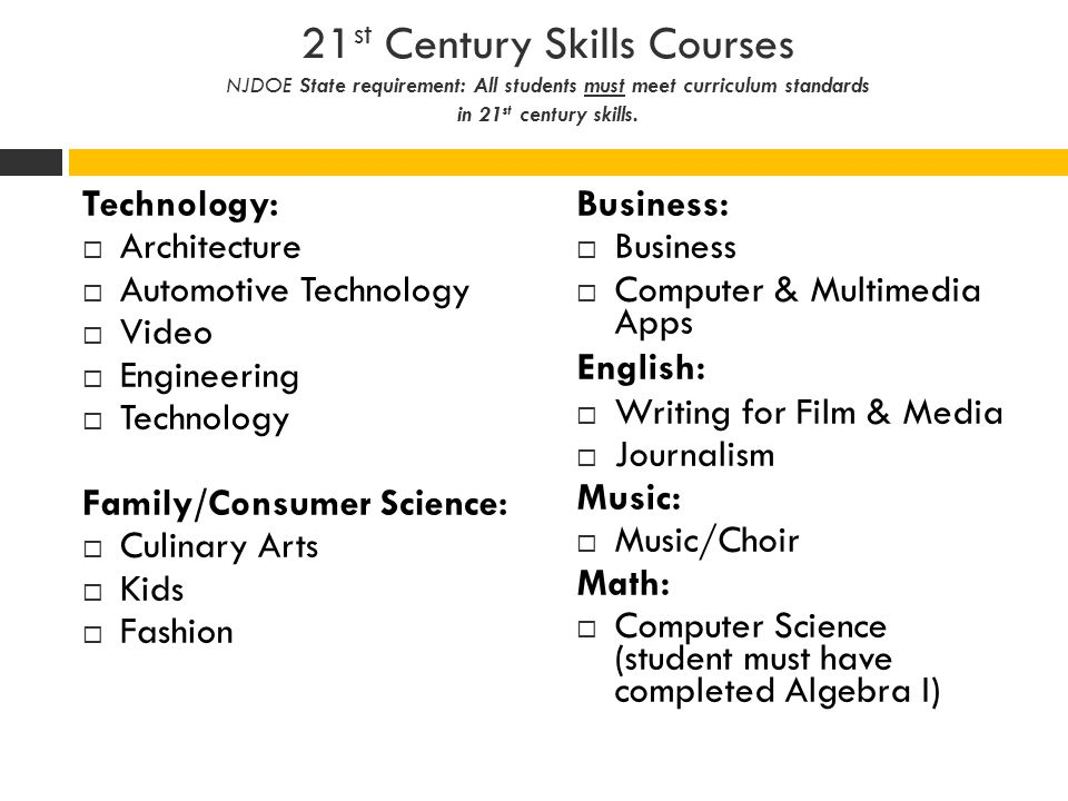 21st Century Skills Courses NJDOE State requirement: All students must meet curriculum standards in 21st century skills.