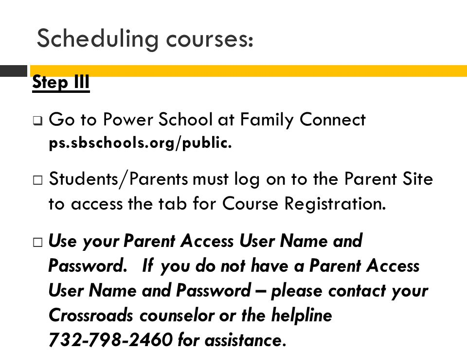 Scheduling courses: Step III