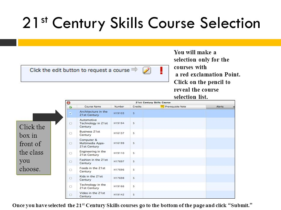 21st Century Skills Course Selection