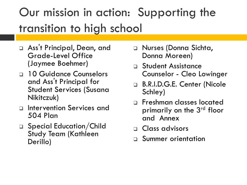 Our mission in action: Supporting the transition to high school