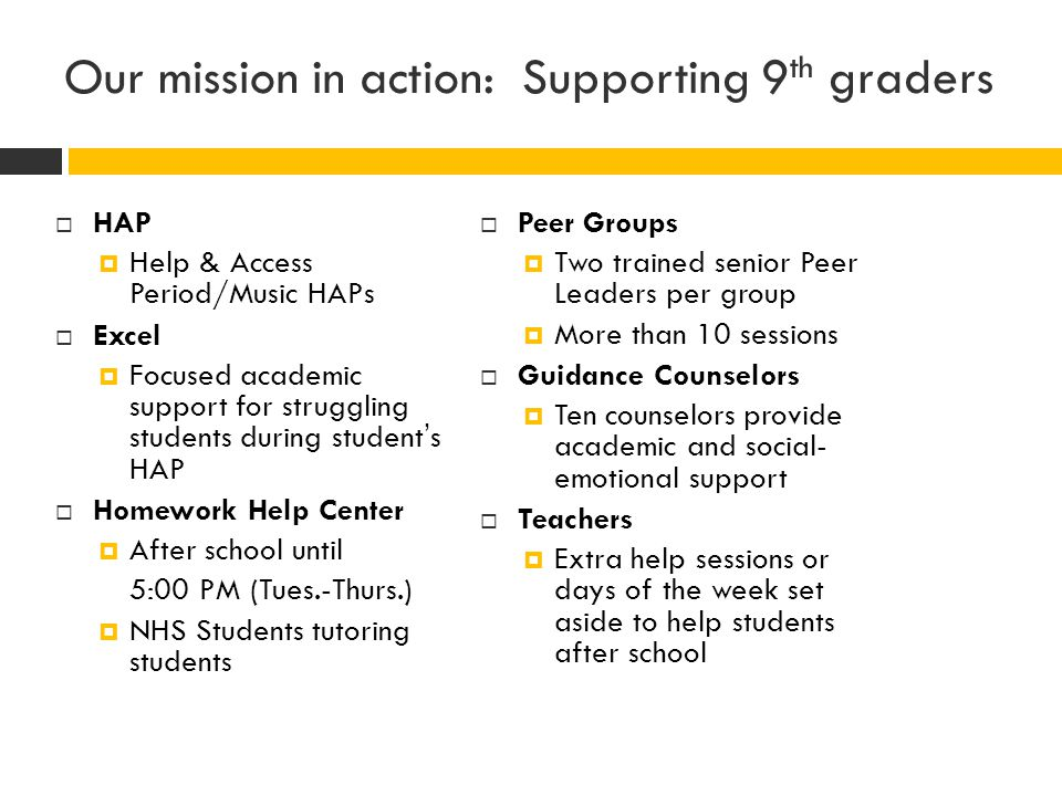 Our mission in action: Supporting 9th graders