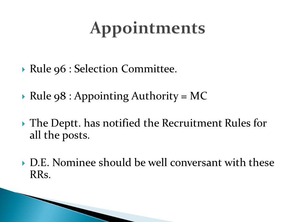 Appointments Rule 96 : Selection Committee.