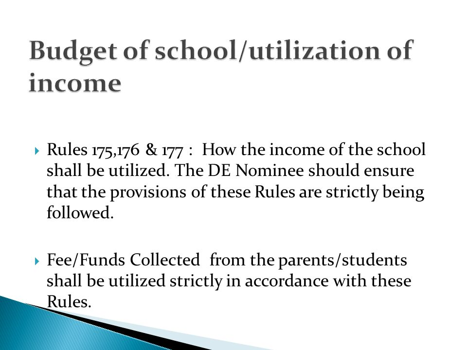 Budget of school/utilization of income