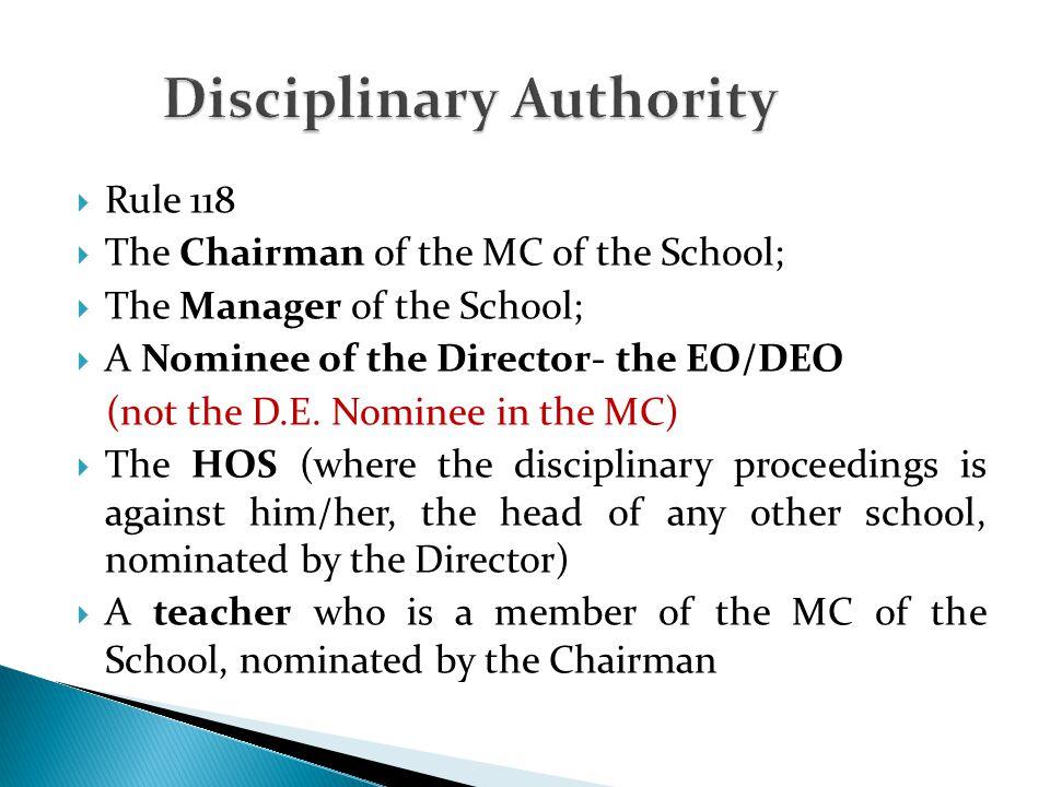Disciplinary Authority