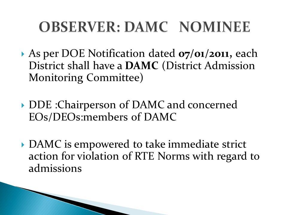OBSERVER: DAMC NOMINEE