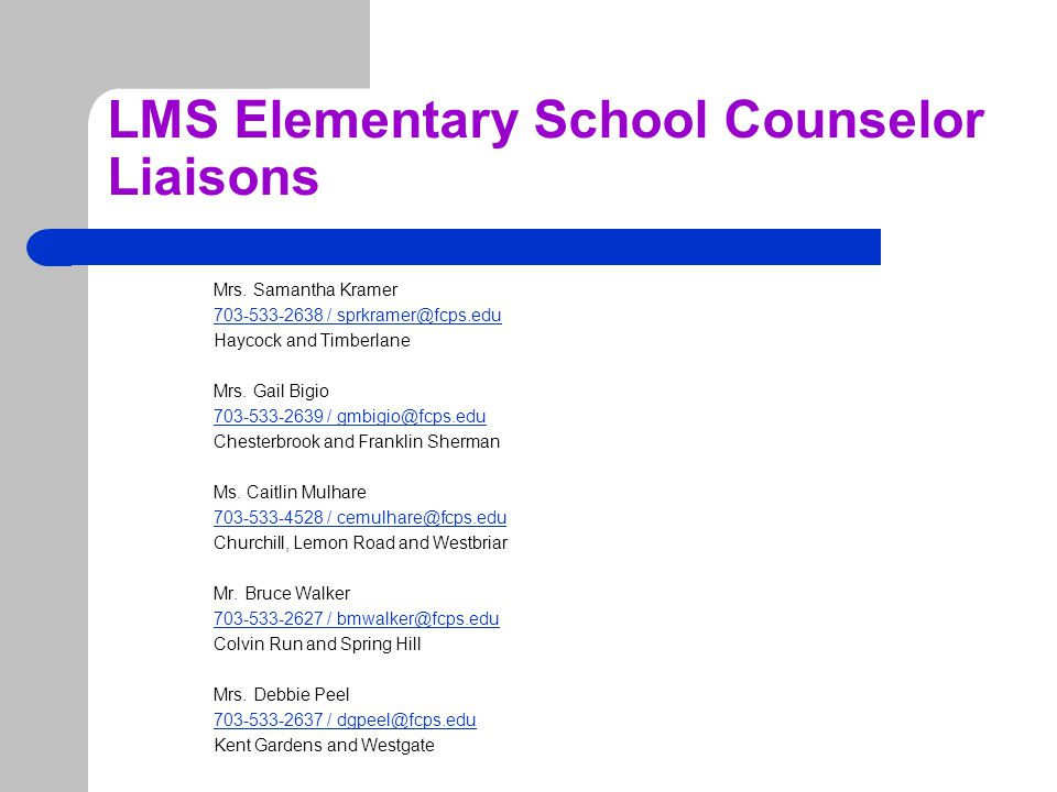 LMS Elementary School Counselor Liaisons