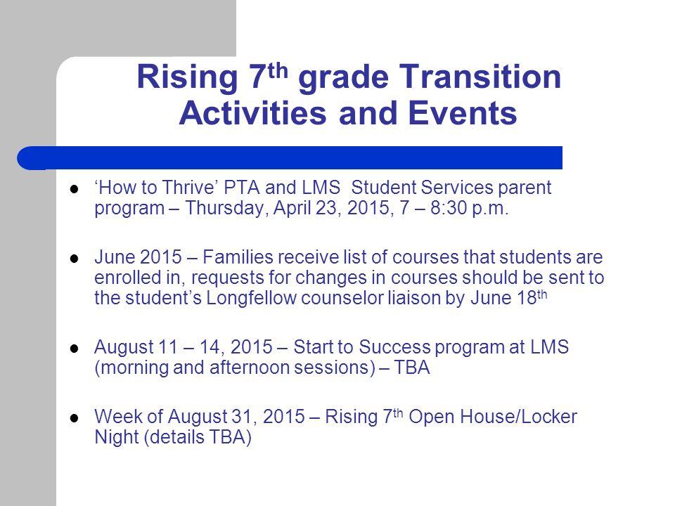 Rising 7th grade Transition Activities and Events