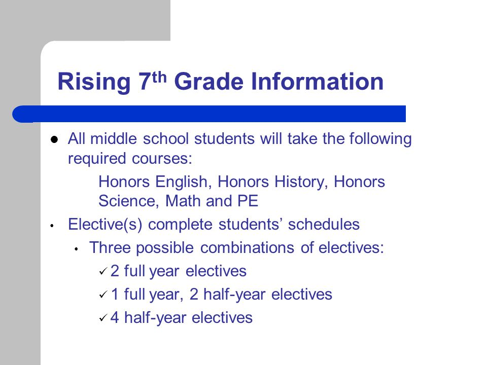 Rising 7th Grade Information